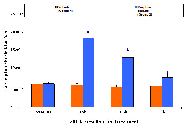 latency time of tail flick nociceptive pain model