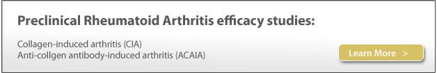 Preclinical efficacy studies, rheumatoid arthritis, preclinical contract research (CRO), collagen-induced arthritis (CIA), anti-collagen antibody-induced arthritis (ACAIA)